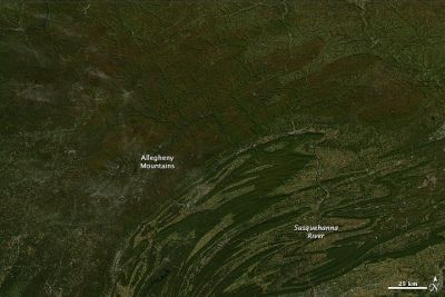 Mountains and highlands of northern Pennsylvania, 8 October 2010. Credit: NASA images courtesy Jeff Schmaltz, MODIS Rapid Response Team at NASA GSFC. Caption by Holli Riebeek.