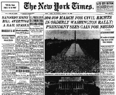 "The New York Times reports on ""orderly"" civil-rights march on Washington: The New York Times"
