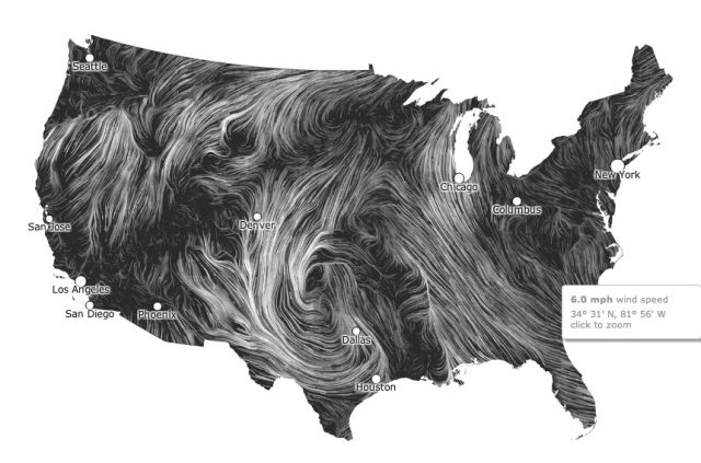 Surface wind flow for 21 March 2012. Click for animation: NOAA.