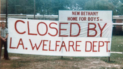 In 1982, when New Bethany's leaders shut down the home to avoid a state inspection, they had a volunteer staff put up this banner.