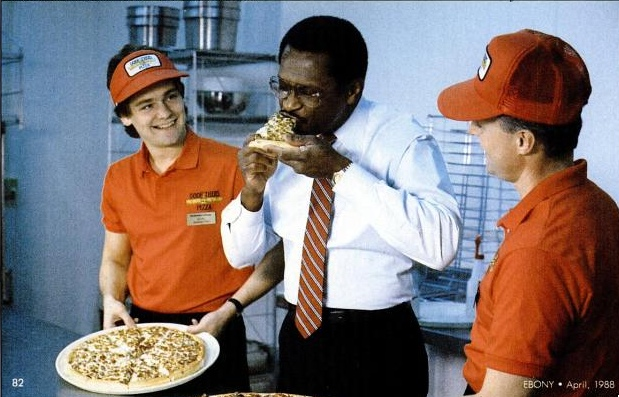 Herman Cain pizza: Ebony, April 1988
