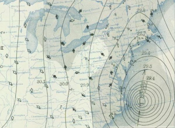 Hand-drawn weather map of the 1938 Hurricane. Credit: NOAA.