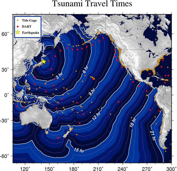 Forecast map for tsunami travel times generated by Japan's 8.9 earthquake of 11 March 2011.
