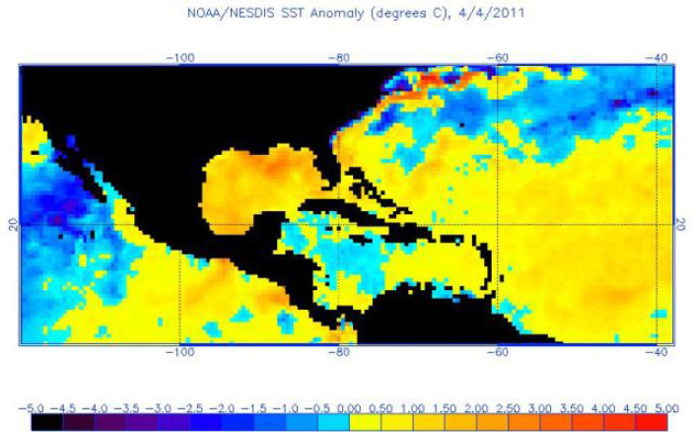Sea surface temperature anomalies on 4 April 2011.: NOAA