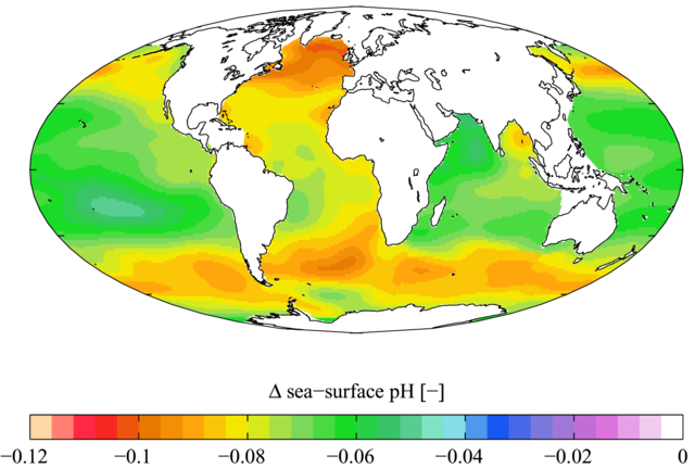 Estimated change in annual mean sea surface pH between the pre-industrial period (1700s) and the present day (1990s). : Plumbago via Wikimedia Commons.