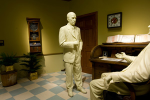 In the Spam Museum, visitors can try on safety gear, as well as see statues of Jay and George Hormel recreating the moment the company was handed from father to son.