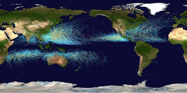 Tropical cyclone tracks worldwide, 1985 to 2005. Points show locations of storms at 6-hour intervals, using the color scheme from Saffir-Simpson Hurricane Scale (right). Credit: Nilfanion via Wikimedia Commons.