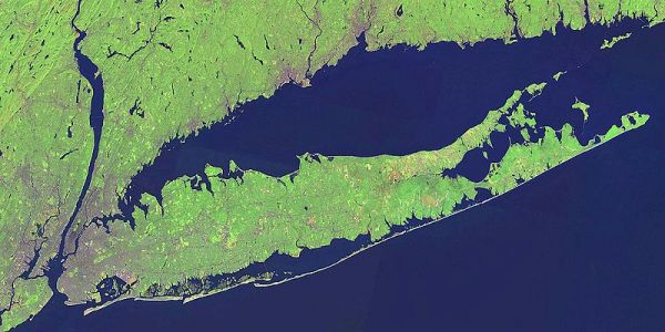Long Island, New York, with multiple barrier islands. Credit: NASA.