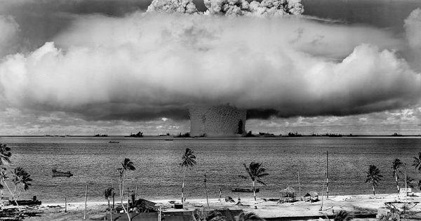"The ""Baker"" explosion at Bikini Atoll, Micronesia, on 25 July 1946. Credit: US Navy, via Wikimedia Commons."