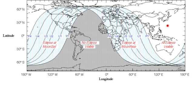 Eclipse visibility map.: Credit: Fred Espenak | NASA GSFC via Wikimedia Commons.
