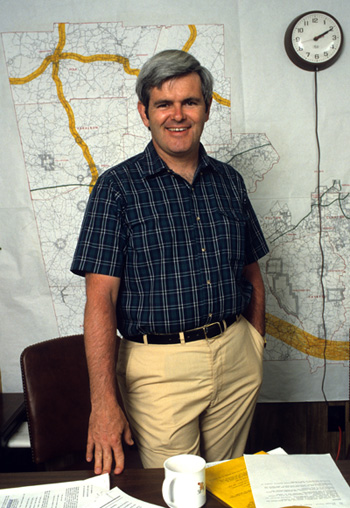 Newt in the 1980s as a US congressman in Newnan, Georgia.: Robin Nelson/Zuma