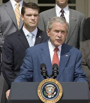 Pete Hegseth: The Vets for Freedom backs up President Bush in the White House Rose Garden on July 20, 2007. / White House photo by Joyce N. Boghosian