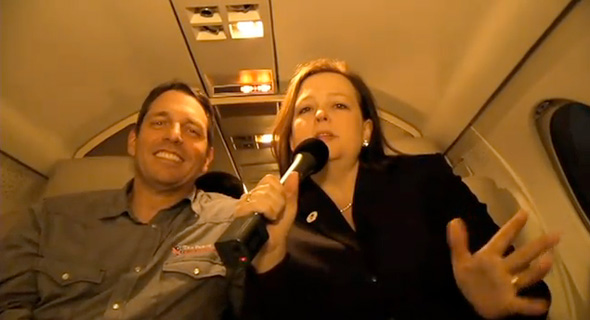 Tea Party Patriots cofounders Mark Meckler and Jenny Beth aboard Patriot One.