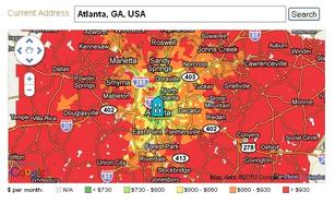 The Atlanta area is a sea of high-transport-cost red.