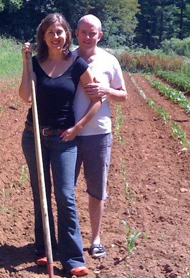 Alice Brooke Wilson and I, hoeing the corn.