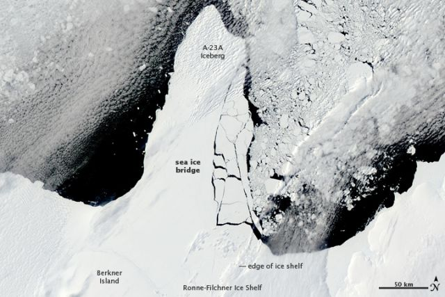 The Ronne-Filchner Ice Shelf in West Antarctica on the morning of 13 January 2010: NASA images courtesy Jeff Schmaltz, MODIS Rapid Response Team at NASA GSFC