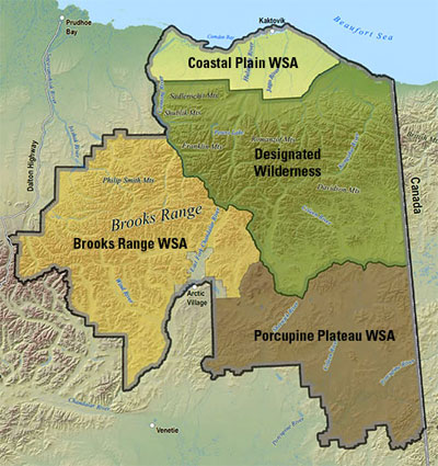 """The Arctic National Wildlife Refuge. Area 1002 is at the top of the """"Coastal Plains WSA."""": Courtesy US Fish and Wildlife Service"""