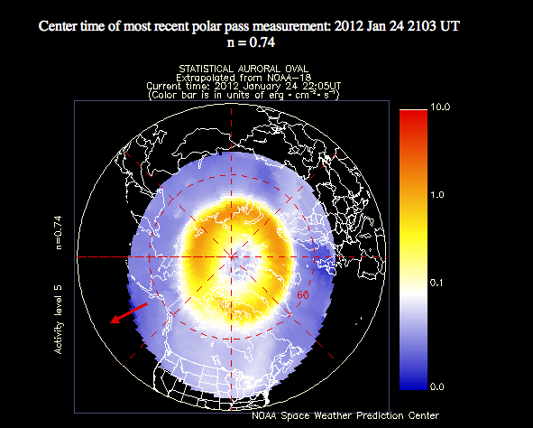 This plot shows the current extent and position of the auroral oval in the northern hemisphere, extrapolated from measurements taken during the most recent polar pass of the NOAA POES satellite: NOAA.