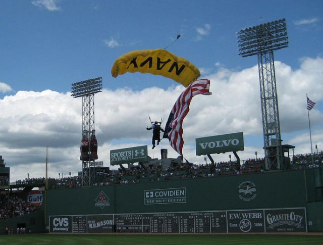 A Navy Seal parachutes into Fenway Park.: kke227/Flickr
