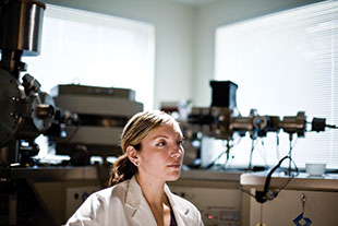 Chelsey Juarez in the lab where she's been tracing the origins of migrants' teeth since 2005.