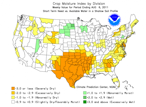 Crop moisture index for week ending 6 August 2011. Credit: NOAA.