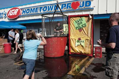 A dunk tank fundraiser in Mt. Sterling, which dissolved its police force due to lack of cash