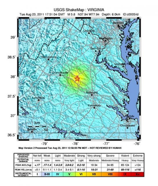 Intensity of shaking in the quake's vicinity.: Courtesy USGS