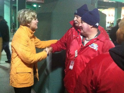 Massachusetts Senate candidate Elizabeth Warren (D) shaking hands at Fenway Park.: @ElizabethforMA