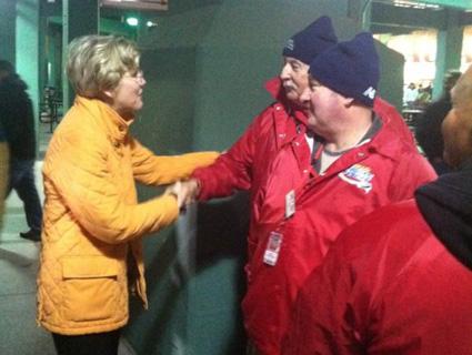 Massachusetts Senate candidate Elizabeth Warren (D) shaking hands at Fenway Park.: @ElizabethforMA