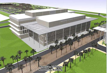 Architect's rendering of US Embassy before its construction