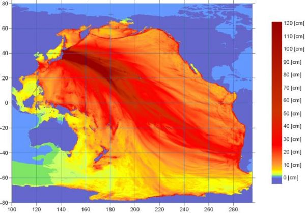 Tsunami energy map. Via NOAA's West Coast and Alaska Tsunami Warning Center.