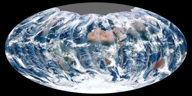 First global image from VIIRS.: Credit: NASA's NPP Land Product Evaluation and Testing Element.