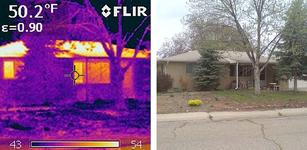 Imaging from Thomason's home audit shows heat leaking from the roof, windows, and doorway.