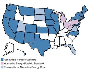 Shaded states have some form of renewable energy standard.: Image: The fantastic map collection at the Pew Center on Global Climate Change