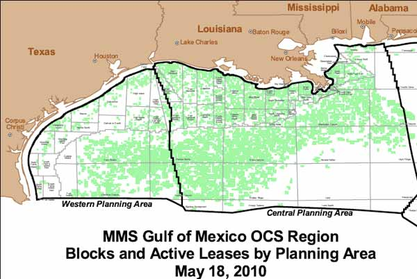 Most active parts of the Gulf: Leased areas are green.