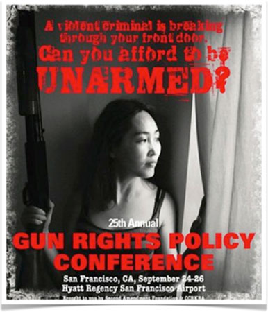 A bus stop billboard image for the gun conference.: Second Amendment Foundation