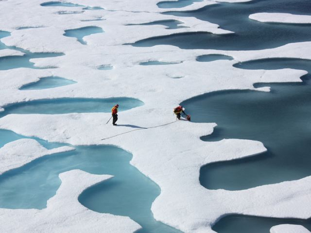 Ice ponds atop the Arctic Ocean. Credit: NASA photograph by Kathryn Hansen.