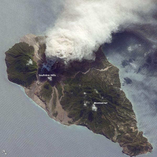 Soufrière Hills Volcano. Credit: NASA, the ISS Crew Earth Observations experiment and the Image Science & Analysis Group, Johnson Space Center.