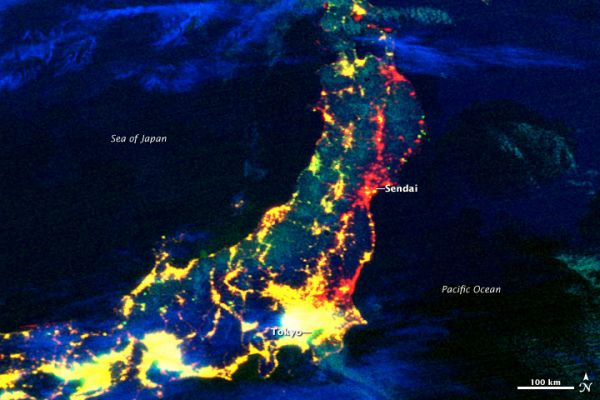 Electricity Losses in Northeastern Japan following the Sendai quake. Yellow indicates lights functioning in 2010 and 2011. Red: power outages on March 12, 2011. Blue and green: clouds. Magenta: lights obscured by clouds. Bright green: may be lights not ob