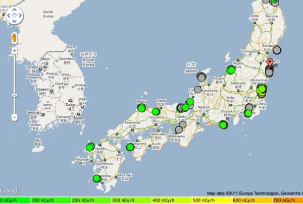 Near-realtime radiation monitoring map. Credit: GEBWEB.