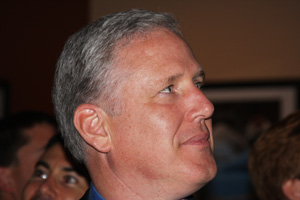 John Dennis watches the poll results.: Photo by Emily Loftis