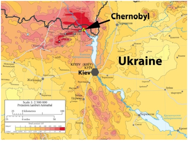 Background radiation (mSv/h) in the Chernobyl region and location of study sites. Adapted from European Union.: Credit: Anders Pape Møller et al. PLoS ONE. DOI:doi:info:doi/10.1371/journal.pone.0035223.g001