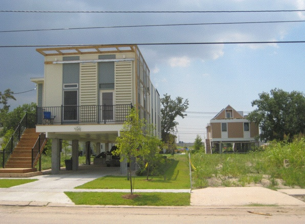 Test-Tube City: Five years after Katrina, New Orleans' Lower Ninth Ward is still largely uninhabited. But there are signs of change: Here's one of 150 ultra-sustainable houses being constructed at the behest of Brad Pitt (Photo: Tim Murphy).