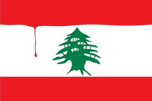 Lebanon Flag with Blood