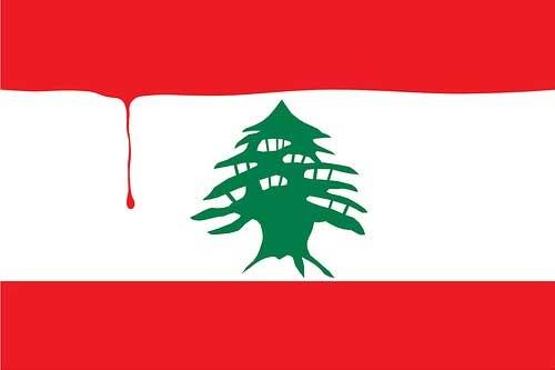 Lebanon Flag with Blood