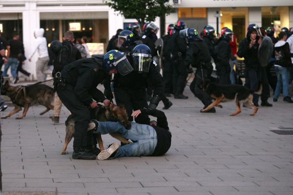 A police dog attacks a rioting suspect in Enfield.: National News/ZUMA
