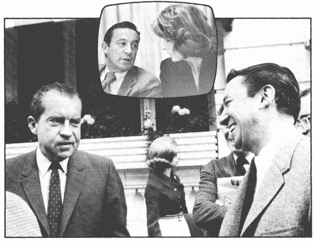 Wallace with Nixon during the 1968 campaign. Inset: With Nancy Kissinger at Bill Buckley roast.