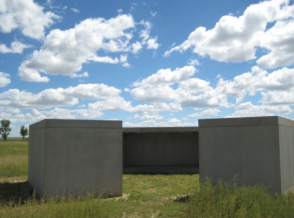Donald Judd's minimalist pillboxes in Marfa (Photo: Tim Murphy).