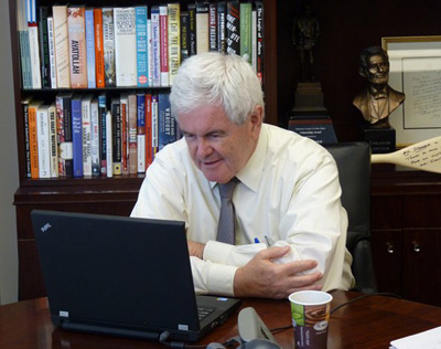 Newt's preferred web-surfing policy: Don't ask, don't tell: Newt Gingrich/Facebook
