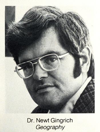 Newt Gingrich as geogrraphy professor at West Georgia College, Carrollton, GA circa 1975.: Robin Nelson/Zuma